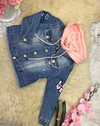 Kurtka jeansowa LOVE Różowy Kaptur
