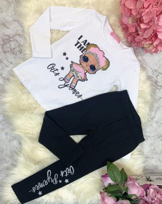 Komplet dziewczęcy LOL -Bluzka + Legginsy(biel+czerń)
