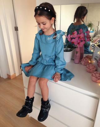 Piękna Sukienka A'la jeans Denim Blue-HIT