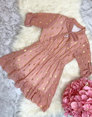 Sukienka Delice puder + złote kropki