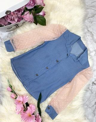 Koszula a'la Jeans z koronkowymi rękawami bufki - pink