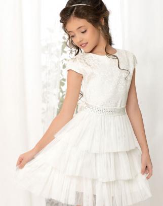 Sukienka Princess Falbanki - Ecru