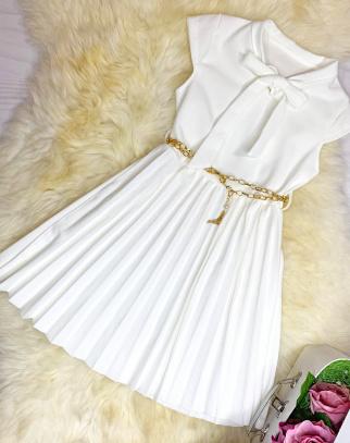 Sukienka Elegance Kokardka - kolor ecru
