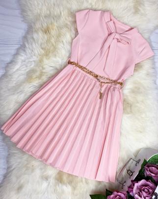 Sukienka Elegance Kokardka - kolor puder