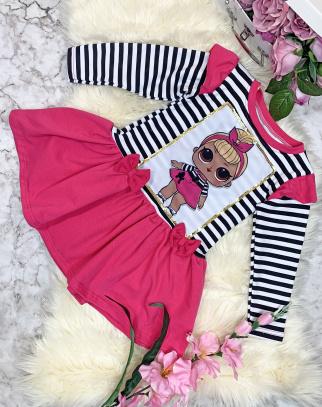 Sukienka LOL Pasiak - Różowy