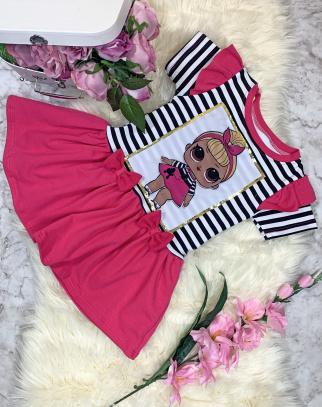 Sukienka LOL Pasiak Krótki Rękaw - Różowy