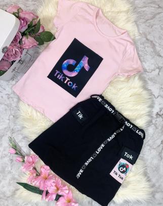 Komplet Bluzka + Spódnica  PINK Tik Tok