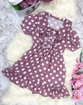 Sukienka Debby w groszki - Różowy