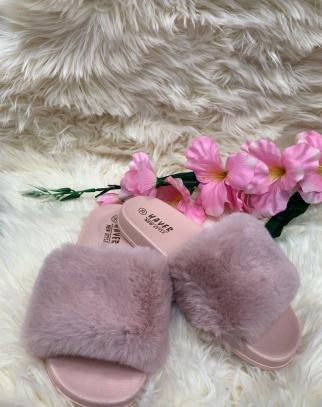 Klapki z futerkiem Pink
