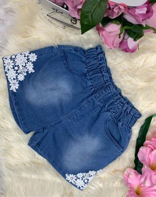 Spodenki z koronką z miękkiego jeansu