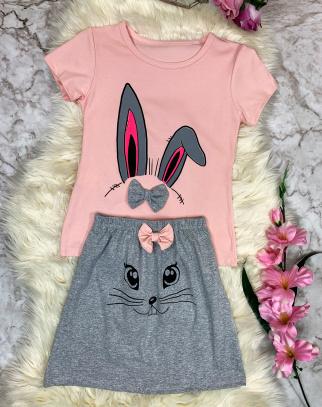 Komplet Funny Bunny - Roż