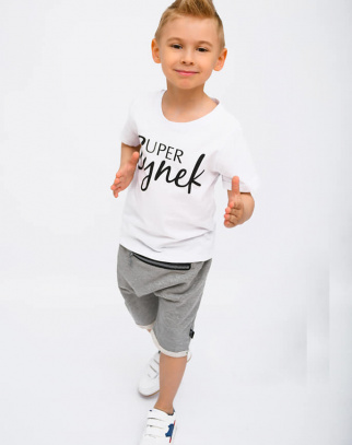 Zestaw T-Shirt Super Synek + Baggy - Biały + szary