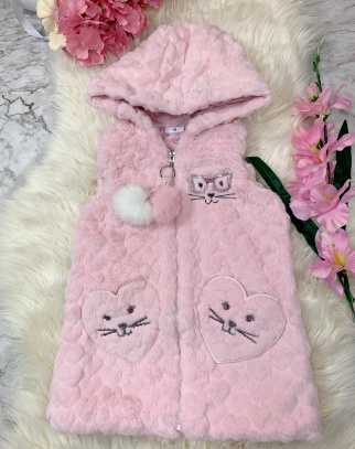 Kamizelka Funny Cat- Pink