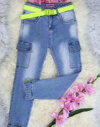 Spodnie Jeans Bojówki dla dziewczynki Green