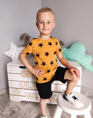 Komplet dla Chłopca Premium Stars - Musztardowy