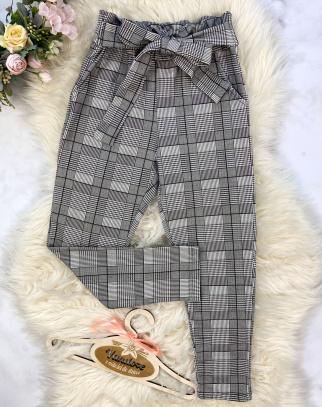 Spodnie dla Dziewczynki Megan w Kratę z Wiązaniem - Grey