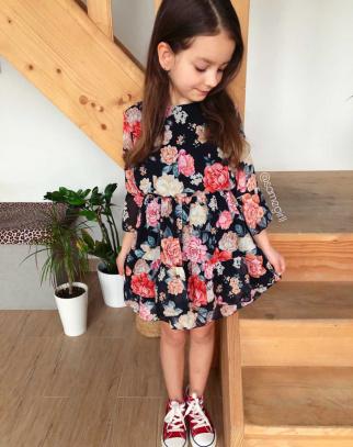 Sukienka Dla Dziewczynki Ravena Flowers - Black