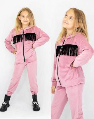 Komplet welurowy dla dziewczynki Sugar Pink