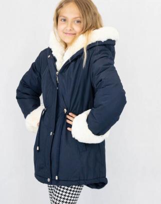 Parka zimowa dla dziewczynki Cortina Granat + Beż