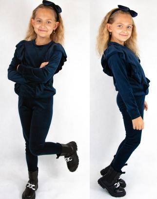 Komplet Welurowy dla Dziewczynki Ashley Navy