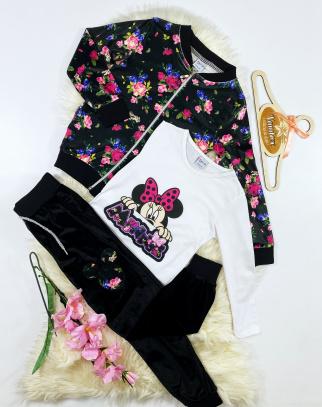 Komplet welurowy dla dziewczynki Mouse Flower