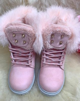 Botki Traperki Ocieplane dla Dziewczynki Rockstar - kolor różowy