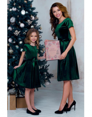 Sukienka dla Dziewczynki Mama&Córka welurowa Vert
