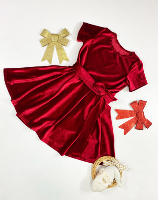 Sukienka dla Dziewczynki Mama&Córka welurowa Rubis