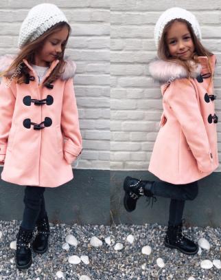 Płaszcz dla dziewczynki z kapturem - Pastel Pink