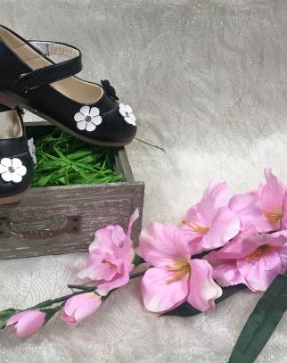 Balerinki na pasku w kwiatuszki - czarne