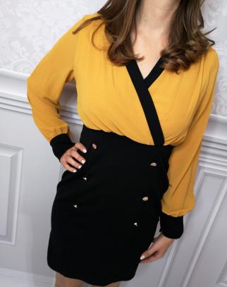 Sukienka Paris - musztarda + czerń