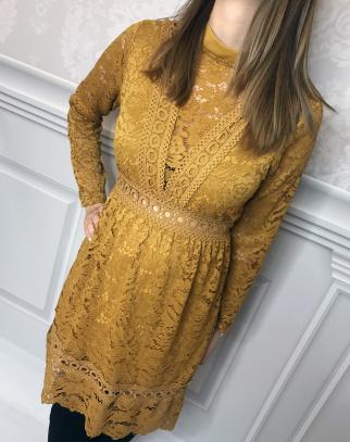 Sukienka Sofia koronkowa - kolor musztardowy