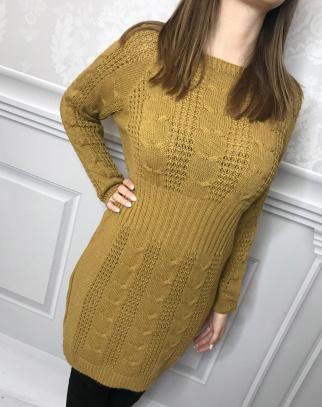 Sukienka Malaga ciepła sweterkowa - kolor musztarda