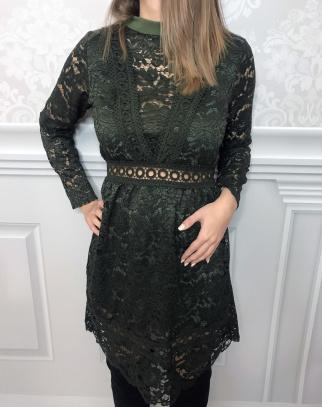 Sukienka Sofia koronkowa - kolor zieleń butelkowa